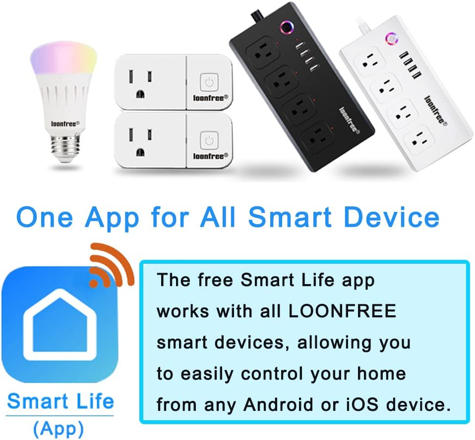 No Hub Required Loonfree 2 packs Wifi Smart Socket with echo ...