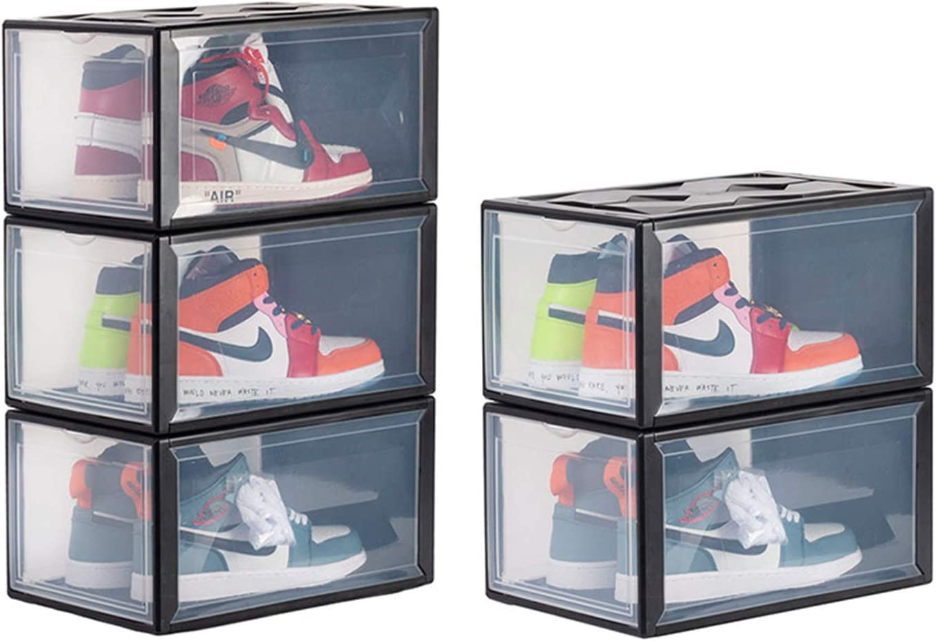 UNIKOO Shoe Boxes Clear Plastic Stackable Black 1 Pack Drop Front Shoe Display Box Large Storage Containers Shoe Box Organizer for Sneaker Men Women