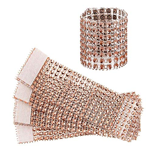 Jingyi E-commerce 120 Pcs Eight Rows Rhinestone Napkin Rings Napkin Mesh Wedding Adornment, Napkin Holder for DIY Party Banquet Birthday ... (Rose)