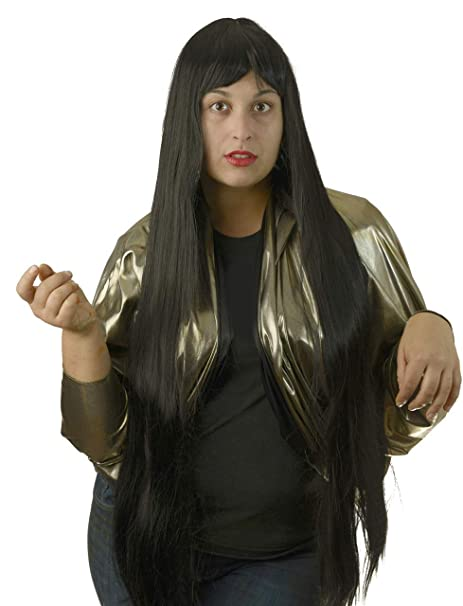 City Costume Wigs Long Black Wig w/Bangs