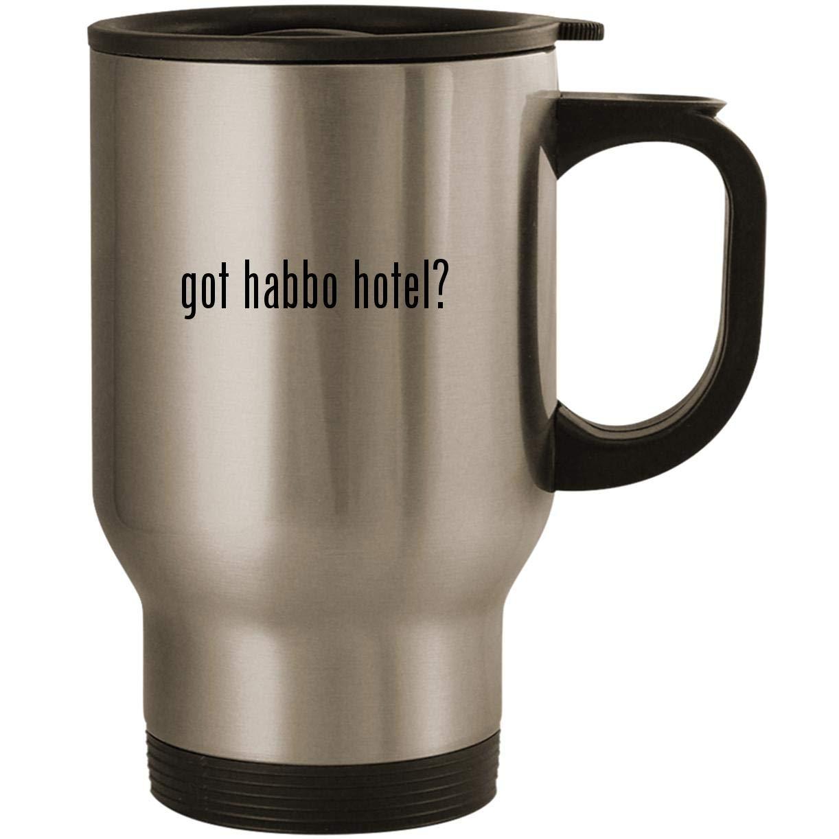 got habbo hotel? - Stainless Steel 14oz Road Ready Travel Mug, Silver