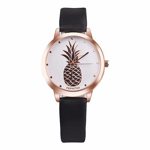 Womens Quartz Watch,Yamally Unisex On Wrist Watch Pineapple Faux Leather Analog Quartz Watches Black