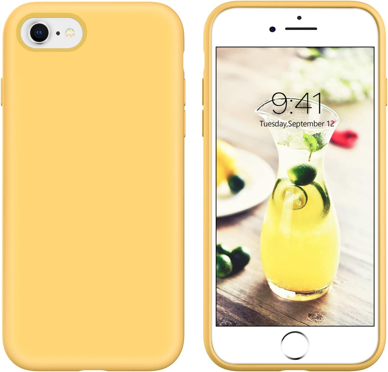 YINLAI iPhone SE 2020 Case iPhone 8 Case iPhone 7 Case Slim Liquid Silicone Hybrid Shockproof Bumper Protective Phone Cover for iPhone SE 2nd Generation/iPhone 8/7 Girls Women Men Summer Yellow