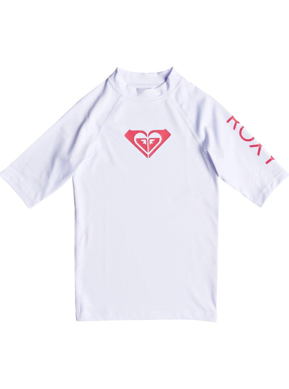 Roxy Girls 7-14 Whole Hearted Short Sleeve UPF 50 Rashguard Size -XXL White