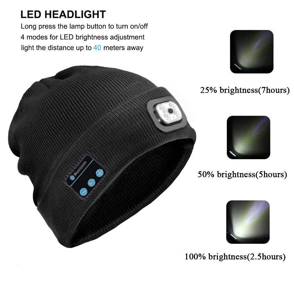 Akku mit USB aufladbar für Klettern BLACK 6LED Strickmütze mit LED-Licht inkl