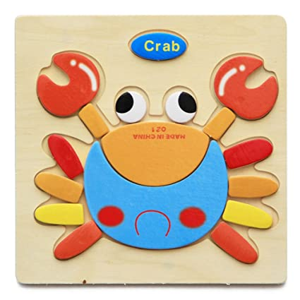 Alician Toy Children Cartoon Wooden Intelligence Jigsaw Puzzle Toy Animal Transportation Cognize Hands Grip Toy Crab