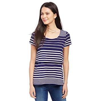 2d61ac16bda96 Amazon.com : Womens Maternity Tops Short Sleeve Classic Side Ruched Striped  Splice Mama Pregnancy T-Shirt Clothes (XL, Navy) : Beauty