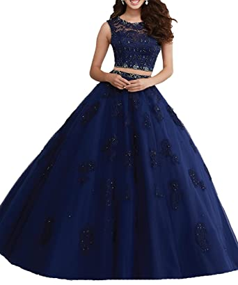 Olivias Womens Two Piece Prom Dresses Appliques Quinceanera Dresses 2017