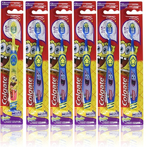 Colgate Kids Spongebob Squarepants Toothbrush, with Suction Cup, Extra Soft (Pack of 6)
