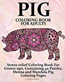 Pig Coloring Book For Adults: Stress-relief Coloring Book For Grown-ups, Containing 40 Paisley, Henna and Mandala Pig Coloring Pages