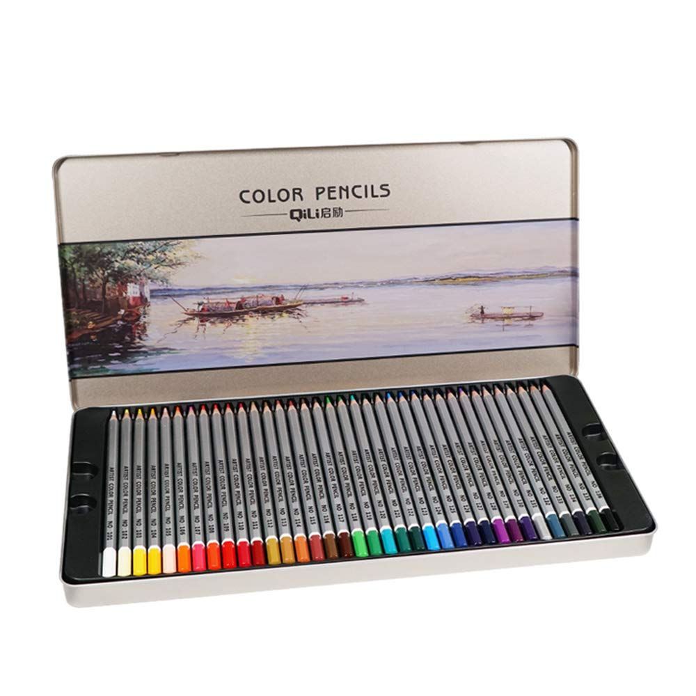 Colored Pencil Set Iron Pencil case, Student Art Graffiti 72/48/36 Color Drawing Pencil 3.3mm Thick Lead core Pencil Combination, Suitable for Beginners, Artists, Children