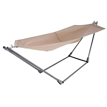 yuebo portable canvas hammock with space saving steel stand and shoulder harness carrying bag amazon     yuebo portable canvas hammock with space saving steel      rh   amazon