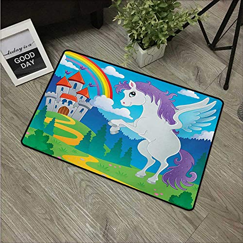 Anzhutwelve Kids,Funny doormats Fantasy Mythical Unicorn with Rainbow and Medieval Castle Fairy Tale Cartoon Design W 16