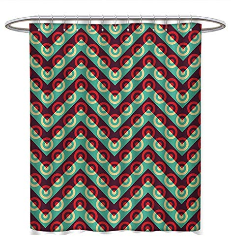 Anhuthree Geometric Circle Shower Curtain Collection by 50s Pop Art Style Triangular Stripes Spiral Hoops Retro Poster Print Satin Fabric Sets Bathroom W69 x L75 Maroon Sea ()
