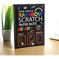 Scratch Art Paper for Kids (10'*7.5 ') Scratch Art Book Large Black Magic Rainbow Painting Boards with 1 Wooden Stylus! for Ages 3-11 Years Girls or Boys