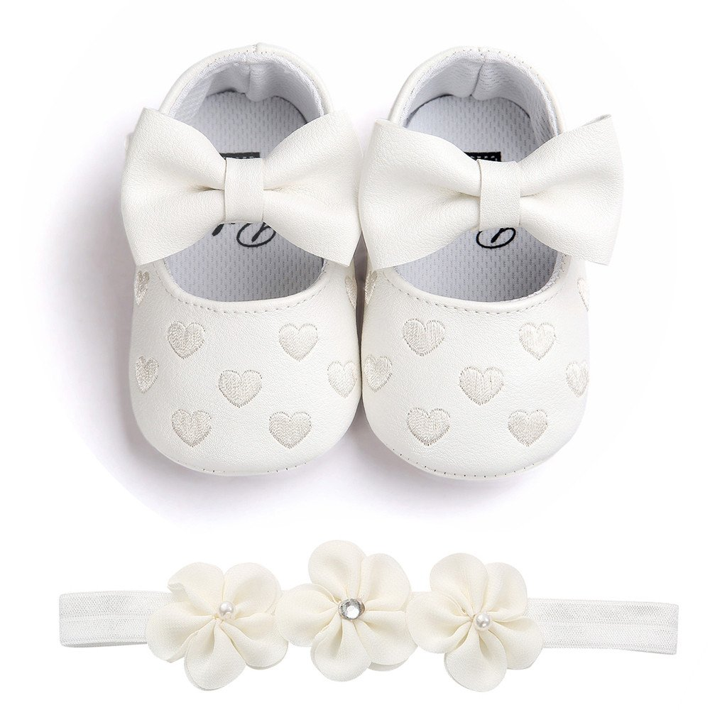 Baby Girl Shoes,Binmer Casual First Walkers Soft Sole Sneaker Shoes+hairband
