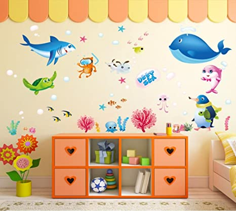 amazon com igobest cartoon decorative 3d under the sea wall