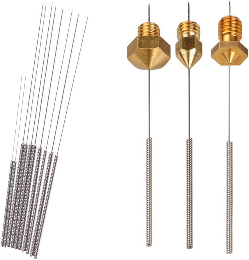 5pcs Aiguille de Nettoyage 0.2mm 0.3mm 0.4mm 0.5mm 0.6mm pour Duplicator//MakerBot//RepRap etc Mugast Kit Accessoirs dImprimante 3D
