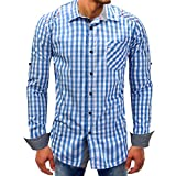 Men shirts Clearance WEUIE Men Lattice Denim Long-Sleeve Beefy Button Basic Solid Blouse Tee Shirt Top (L, Sky Blue)