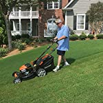 "Yard Force YOLMX225300 120V 2.5Ah x 2 Lithium-Ion 22"" SP 3-in-1 Mower Torque-Sense, One Size, Black/Orange 12 POWERFUL, RELIABLE PERFORMANCE + 5-YEAR WARRANTY: The 120vRX brushless motor has the torque of a gas engine to cut through all grass types and conditions with up to 100 minutes of runtime on a single charge with two batteries installed. Dual battery ports operate either battery when two are installed. When one is completely discharged, the sensor powers the other battery to keep you going. The mower operates with only one battery installed if you need to charge the other battery while cutting. TORQUE-SENSE TECHNOLOGY: Sensors built in to the motor receive feedback while you are cutting and sense when more power is needed for thick, dense or wet grass to increase the blade speed for a premium cut. This gives you power when you need it and saves energy when you don't to extend the runtime even longer. SELF-PROPELLED / SPEED ADJUSTABLE DRIVE: Step up to self-propelled power drive with a simple control lever on the handle to reduce effort and achieve a perfect cut every time! Adjust the speed with the touch of a lever at your fingertips. Self-propelled drive is essential for yards with hills and slopes of all degrees to maintain a consistent cut and is safer by providing more control during operation."