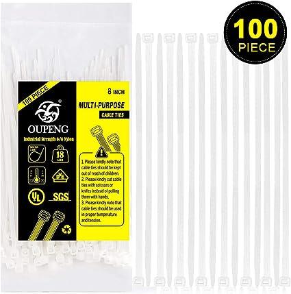 100 x 200 mm X 3,6 mm negro CABLE de alta calidad Juego de bridas para unidades de pl/ástico nailon con cremallera