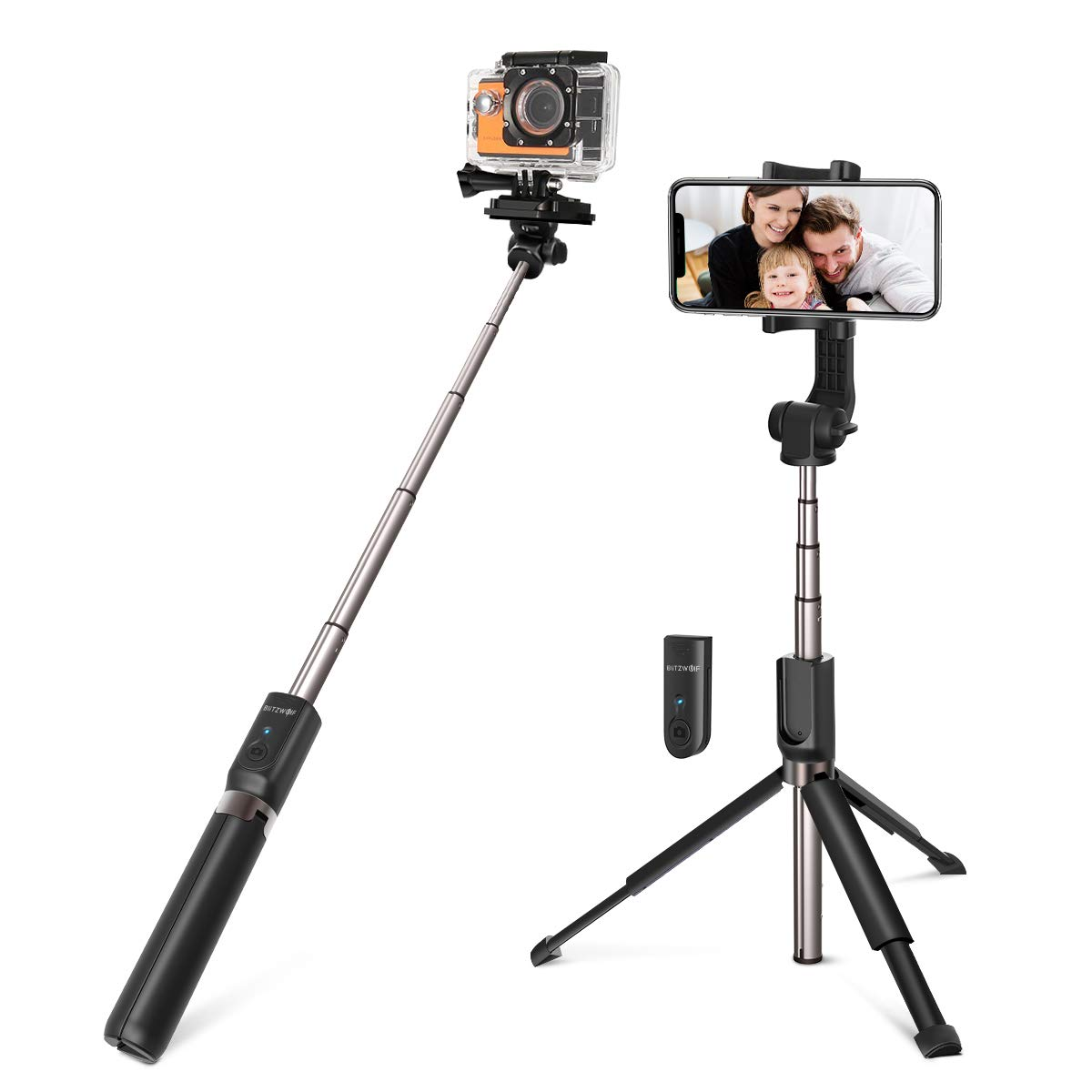 Selfie Stick Tripod, BlitzWolf 35 inch Extendable Bluetooth Selfie Stick with Wireless Remote for Gopro iPhone Xs Max/XR/X/8/8 Plus/7/7 Plus /6 Plus/6S/6, Galaxy S10/S9/S8/Note8, Huawei, More by BlitzWolf