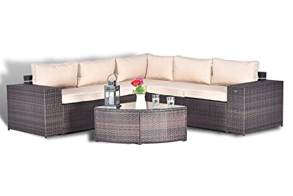 Amazon Com Gotland 6pcs Outdoor Rattan Sectional Sofa Wide Armrest