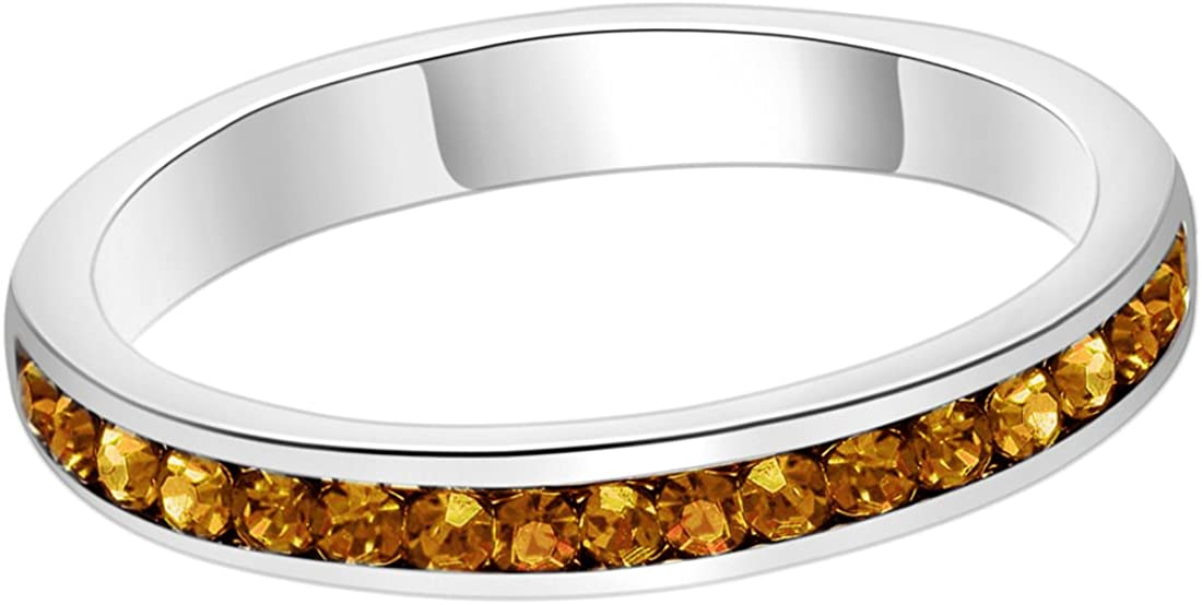 silver angel Birthstone Eternity Ring Stackables Swarovski Crystal Womens Jewelry