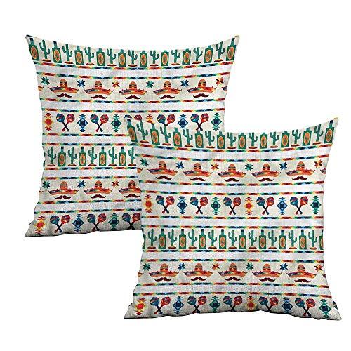 (Khaki home Mexican Square Custom Pillowcase Maracas Hat and Cactuses Square Kids Pillowcase Cushion Cases Pillowcases for Sofa Bedroom Car W 14
