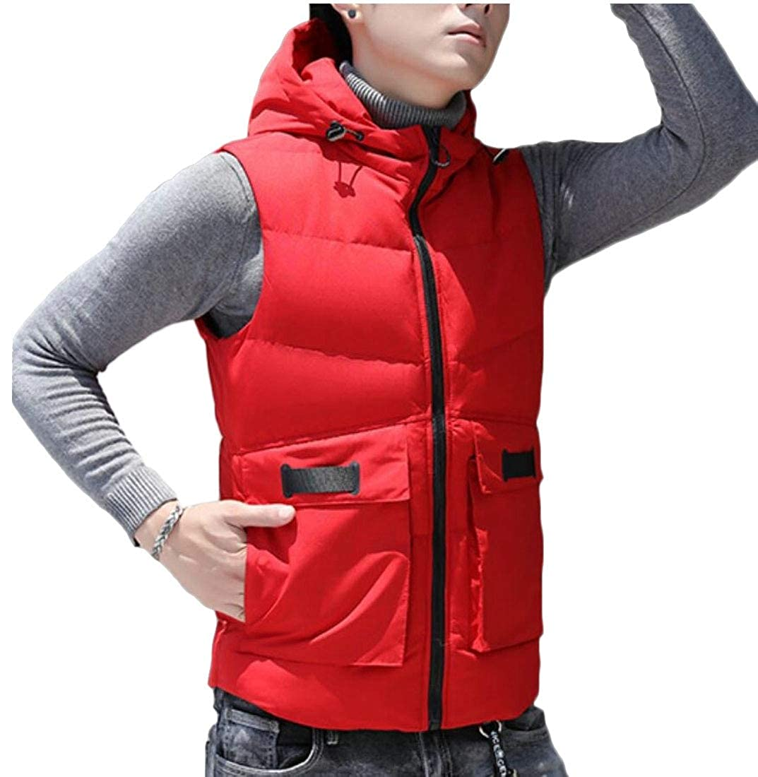 Generic Mens Full-Zip Hooded Solid Down Vest Jacket Outerwear