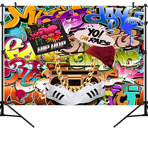 OUYIDA 9X6FT Seamless Hip Hop Graffiti Pictorial Cloth Photography Background Computer-Printed Vinyl Backdrop PCK06A