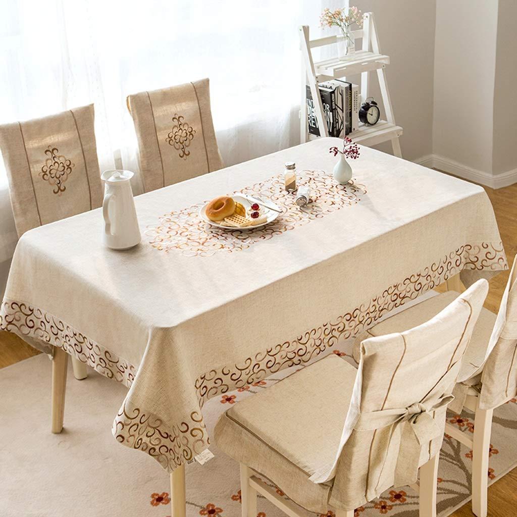 HFY テーブルクロス、華やかな刺繍入り長方形リネンテーブルクロス、ベージュ (色 : ベージュ, サイズ さいず : 140*180cm) 140*180cm ベージュ B07S521JSY