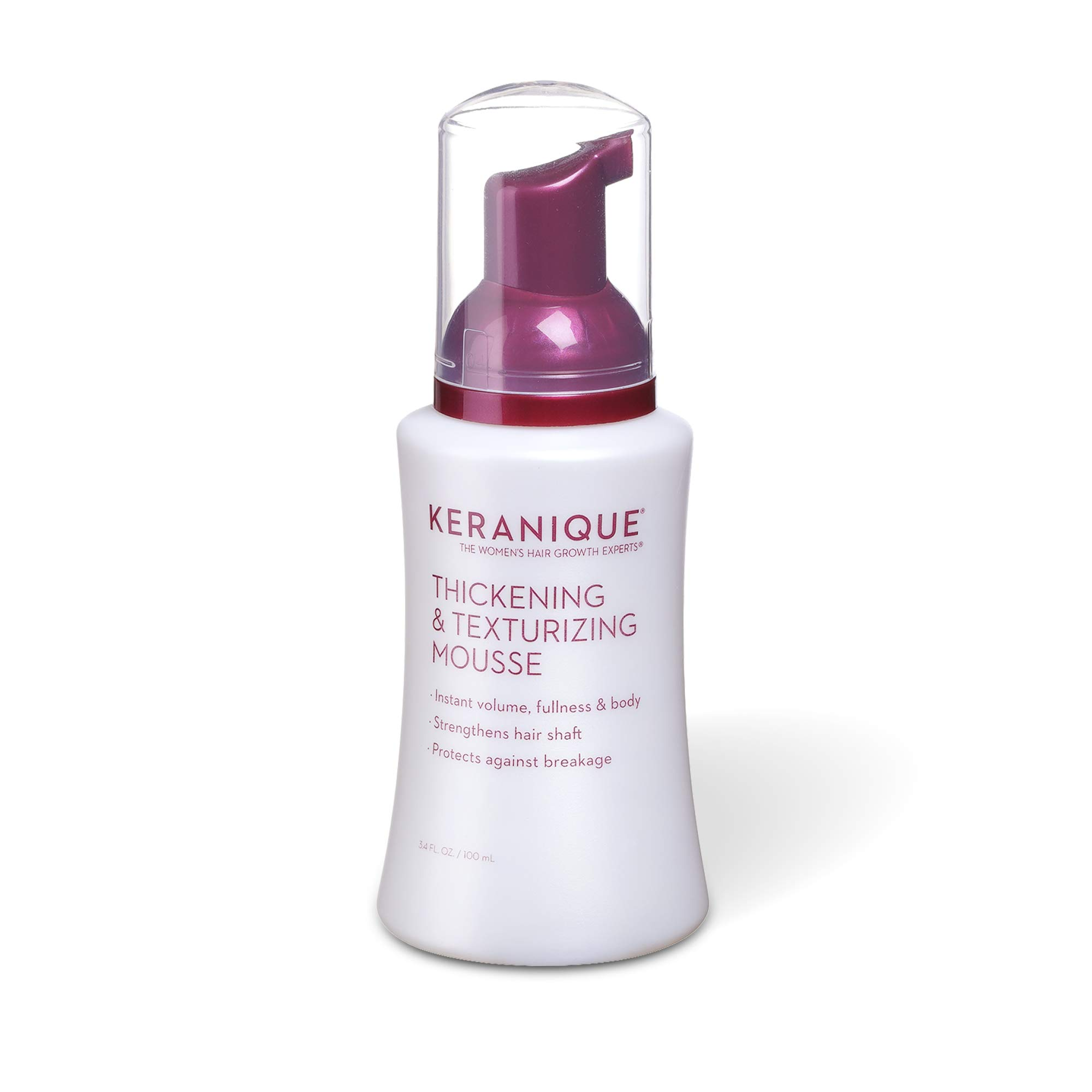 Keranique Thickening & Texturizing Mousse, 3.4 Fl Oz – Instant Volume, Thickness and Body, Leaving Hair with Smooth and Soft Touch   Strengthens Hair Shaft and Protects Against Breakage