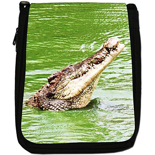 Shoulder A Size Crocodile amp; Bag Black Medium Canvas Crocodiles Of Alligators Head T1nqx6wS