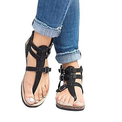 6cf01a013632 Familizo 2018 Womens Ladies Flat-Bottomed Bohemia Sandals Casual Roman  Sandals Shoes Flip-Flops