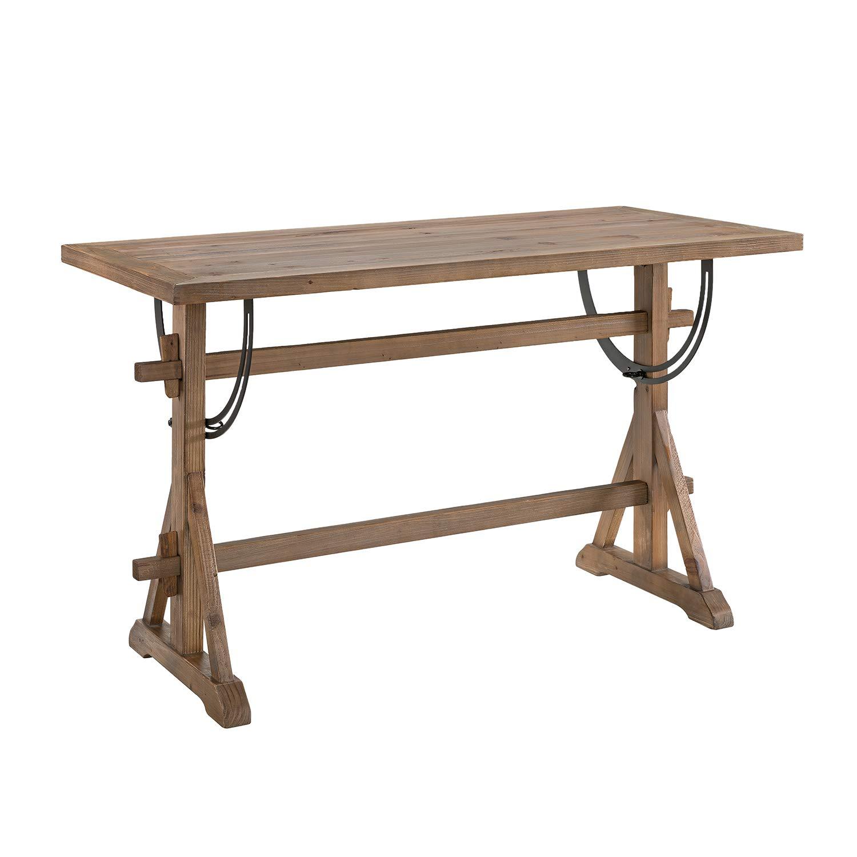 Southern Enterprises AMZ4575ND Ezra Drafting Table, Natural, Rustic Black