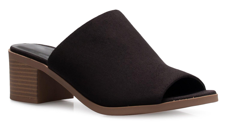 OLIVIA K Womens Low Block Heel Slip On Sandal Slide - Comfort Trendy Slipper Shoe