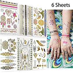 Metallic Temporary Tattoos for Women Teens Girls, AooHome 6 Large Sheets -Over 75 Color Waterproof Henna Flash Tattoos, Mandala, Mehndi, Boho Tattoos in Gold and Silver