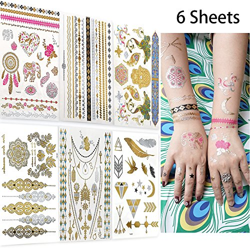 Metallic Temporary Tattoos for Women Teens Girls, AooHome 6 Large Sheets -Over 75 Color Waterproof Henna Flash Tattoos, Mandala, Mehndi, Boho Tattoos in Gold and Silver ()