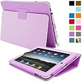 iPad 2 Case, Snugg - Purple Leather Smart Case Cover [Lifetime Guarantee] Apple iPad 2 Protective Flip Stand Cover with Auto Wake / Sleep
