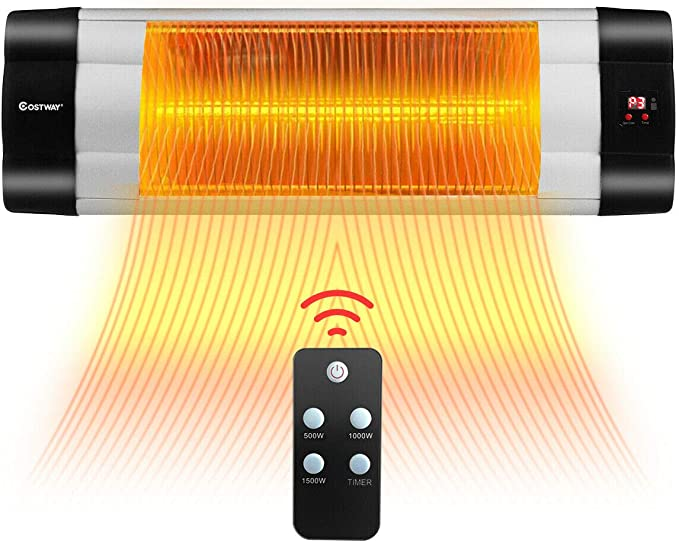 Devola Electric Radiant Patio Heater Wall Mounted Wi-Fi Enabled and Remote Control 4 Power Settings 24 Hr Timer IP44 Rated for Outdoor//Indoor Use LED Display Child Lock. 1200W