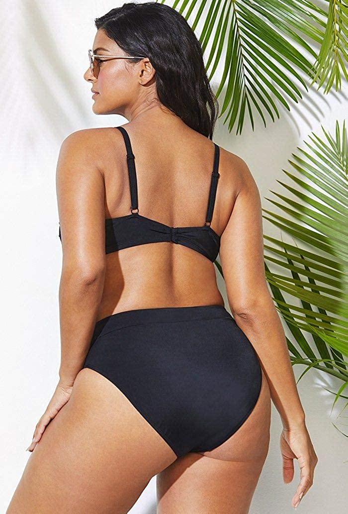 SWIMSUITSFORALL Swimsuits for All Womens Plus Size Tie Front High Waist Bikini Set