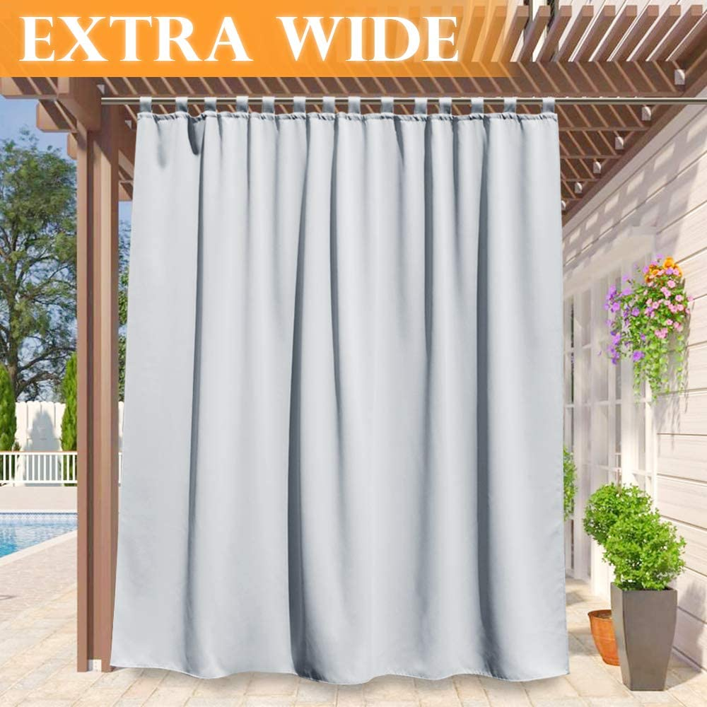 RYB HOME Insulated Outdoor Curtain - Waterproof Sun Block UV Protection Drape for Backyard/Gazebo, Repel Summer Heat Window Shade for Pergola/Patio, Width 100 by Length 95, Grayish White
