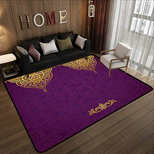 Amazon Com Silky Smooth Bedroom Mats Purple Decor Eastern Oriental Royal Palace Patterns With Bohemian Style Art Traditional Wedding Decor Purple Gold 78 7 X 118 Anti Slip Coffee Table Floor Mats Kitchen Dining