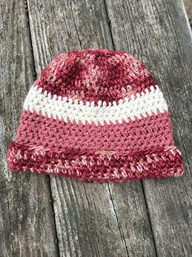 White /& Burgundy Stripped Crochet Basic Beanie