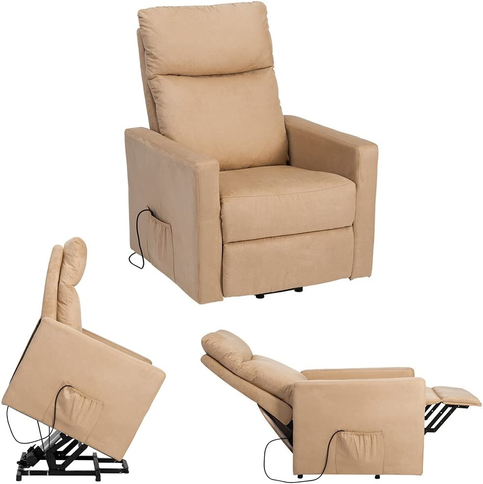 LIFE CARVER Riser Recliner Chair Electric Power Lift Chair Suede Fabric Recliner Armchair with Heavy Duty Reclining Mechanism Home Lounge Sofa(Beige)