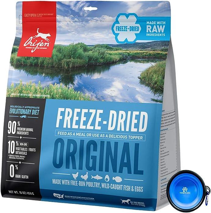 Orijen Freeze Dried Dog Food Snacks, Freeze-Dried Raw 16-Ounce Bag with Hot Spot Pets Food Bowl - Made in USA