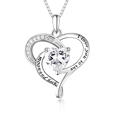 2dfacf0a84 Amazon.com: Bellrela Sterling Silver I Love You to The Moon and Back  Necklace Heart Love Pendant Necklace: Jewelry