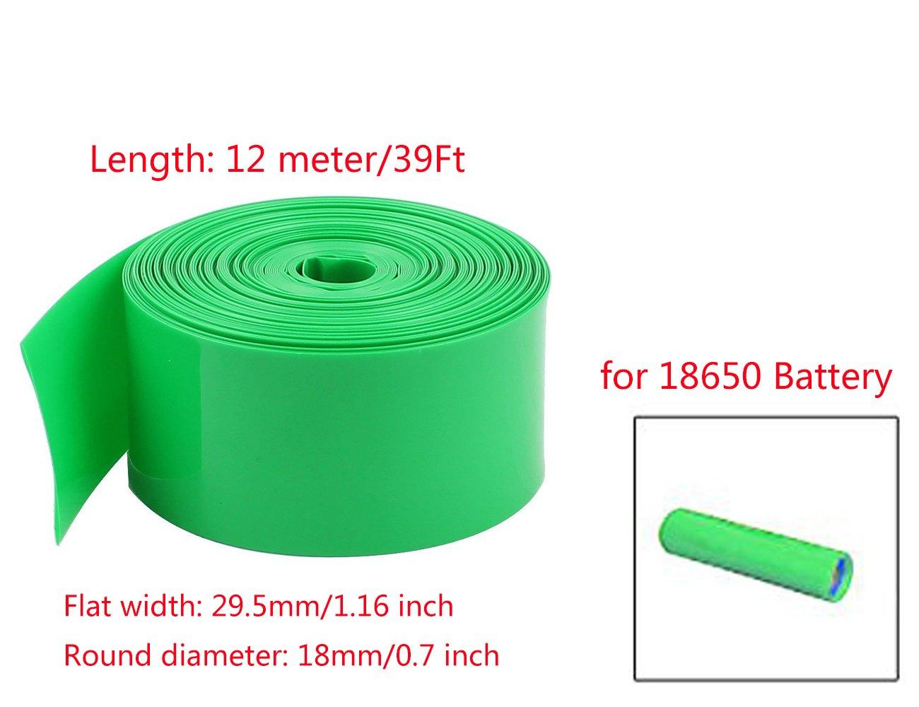 YXQ 12M 29.5mm Flat PVC Heat Shrink Tubing 0.7 Dia Wrap Shrinkable for 18650 Battery Green
