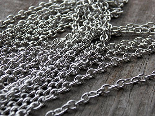 10ft (3m) Rhodium Plated Silver Brass Cable Chain- Hypoallergenic Nickel Free- (2 x 1.6) 1.5mm (Brass Rhodium Plated)